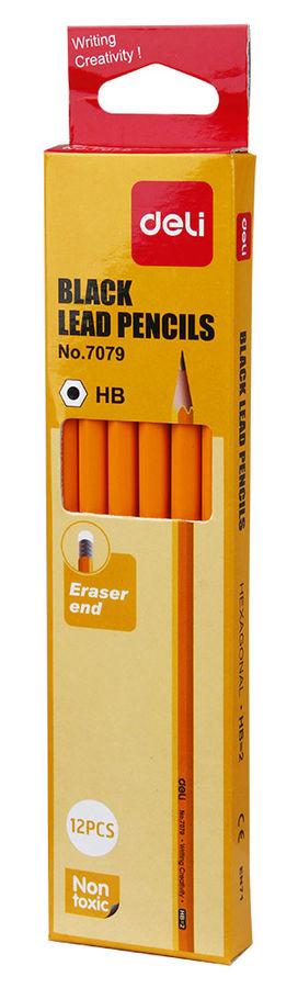 Карандаш чернографит. Deli E7079 HB ластик корпус желтый коробка с европодвесом (12шт)