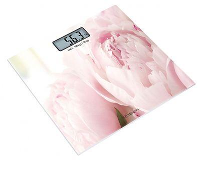 Напольные весы ROLSEN RSL1519PEONY, до 150кг, цвет: розовый/рисунок