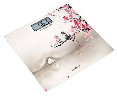 Напольные весы ROLSEN RSL1519SAKURA, до 150кг, цвет: белый/рисунок
