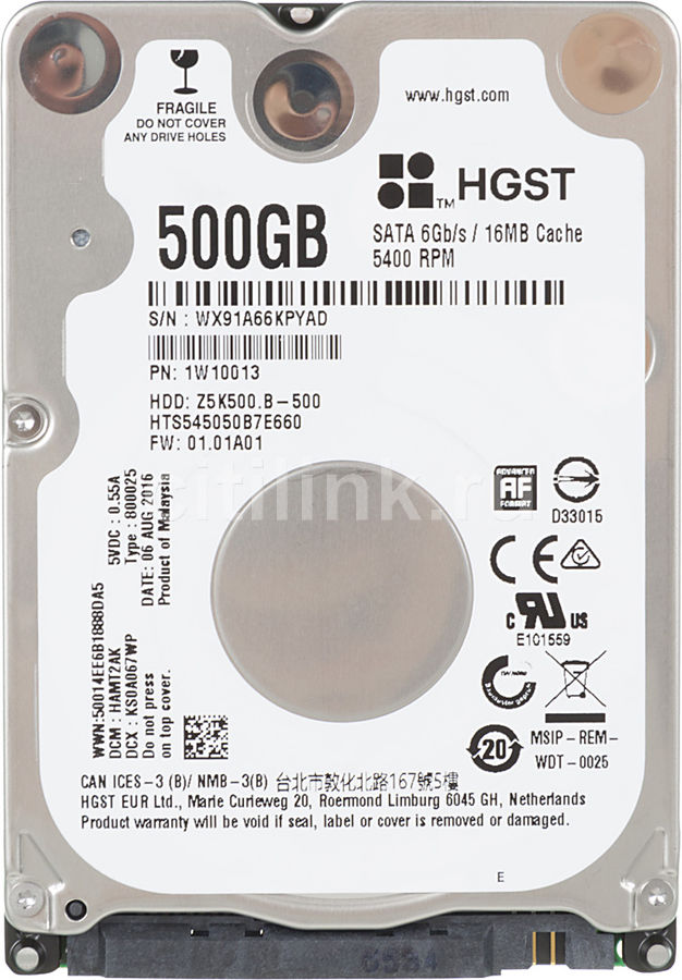 Жесткий диск HGST Travelstar Z5K500.B HTS545050B7E660,  500Гб,  HDD,  SATA III,  2.5
