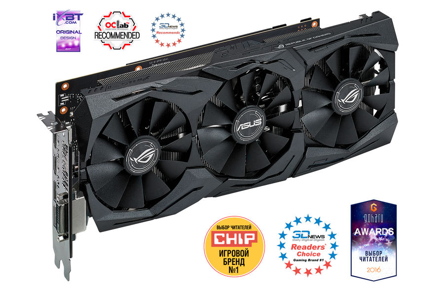 Видеокарта ASUS nVidia GeForce GTX 1060 , STRIX-GTX1060-O6G-GAMING, 6Гб, GDDR5, OC, Ret asus rog strix geforce gtx 1050 oc 2gb видеокарта