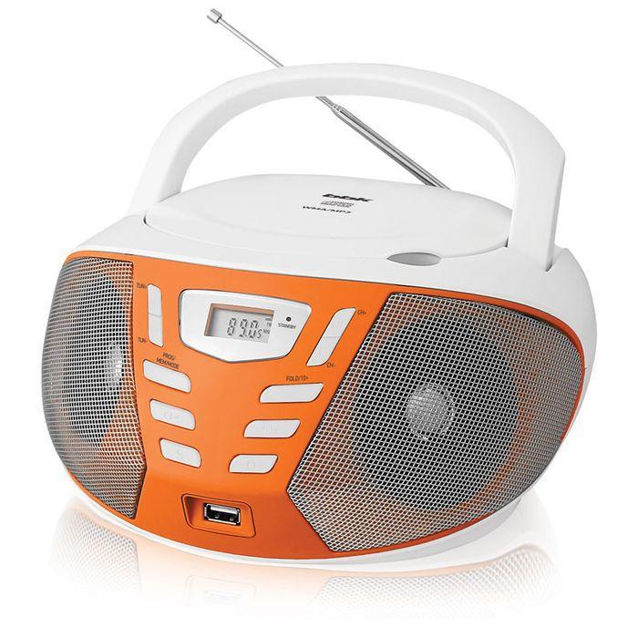 Аудиомагнитола BBK BX193U,  белый и оранжевый