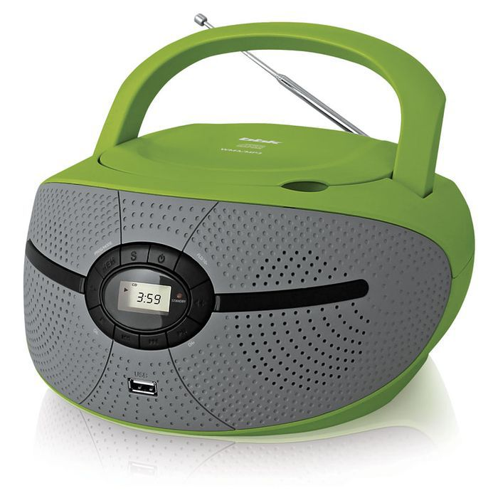 Аудиомагнитола BBK BX195U,  зеленый и серый