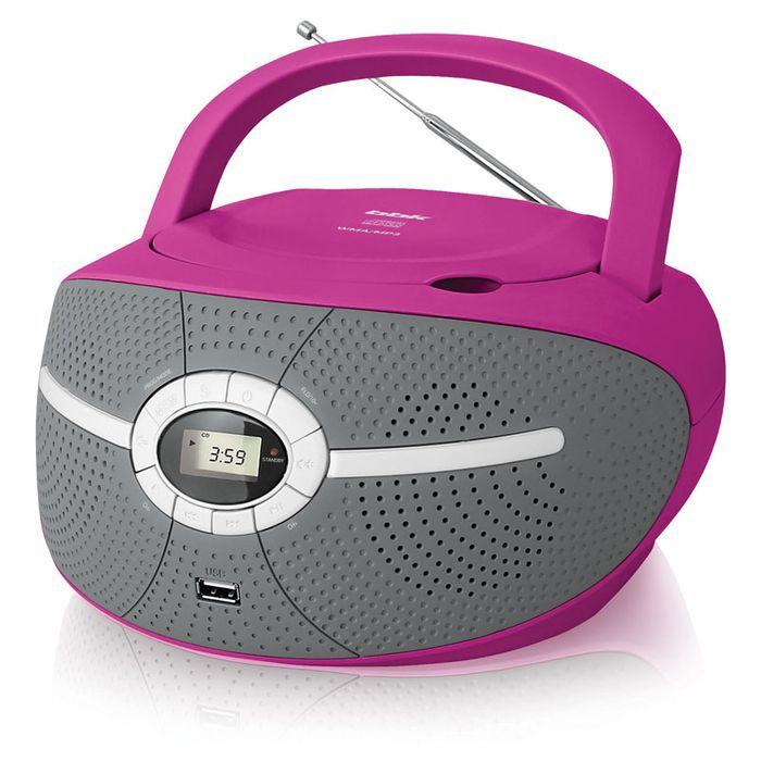 Аудиомагнитола BBK BX195U,  розовый