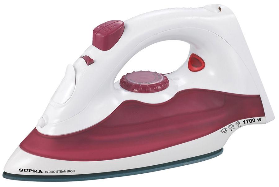 Утюг SUPRA IS-0500P,  1700Вт,  белый/ красный [10512]