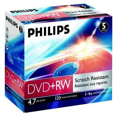Оптический диск DVD+RW PHILIPS 4.7Гб 4x, 5шт., jewel case