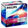 Оптический диск DVD+RW PHILIPS 4.7Гб 4x, 5шт., jewel case вид 1