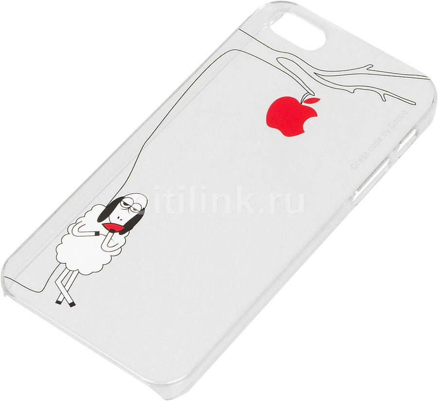 Чехол (клип-кейс) DEPPA Art case Будни Петра Яблоко, для Apple iPhone 5/5s/SE, прозрачный [100657]