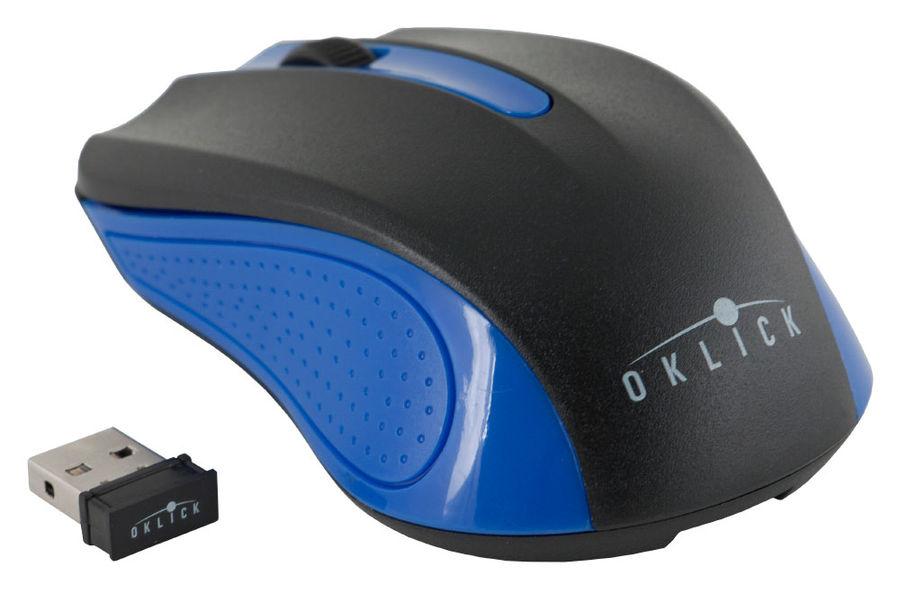 Мышь OKLICK 485MW+ оптическая беспроводная USB, черный и синий [m-610]