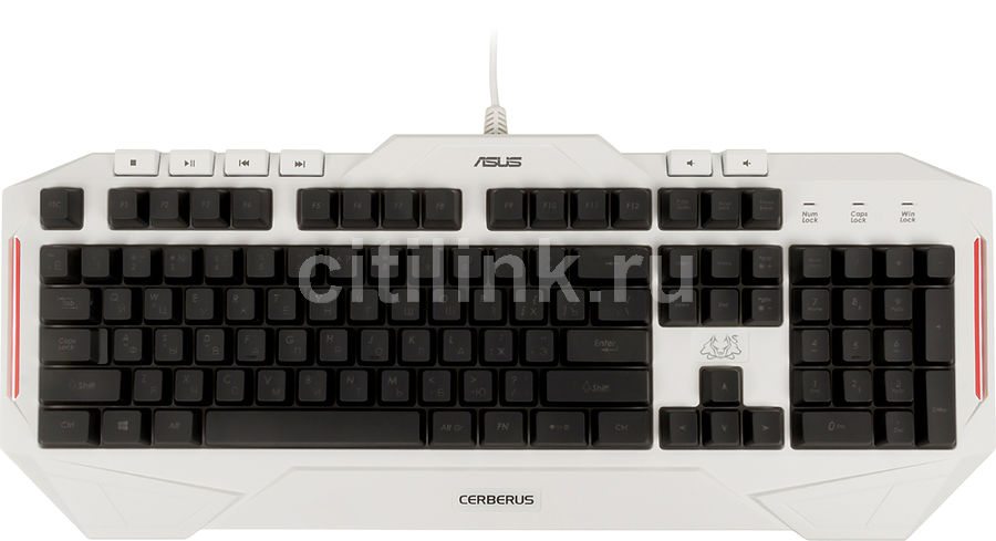 Клавиатура ASUS Cerberus Arctic, USB, белый [90yh00v1-b2ra00] клавиатура asus strix tactic pro cherry mx black black usb 90yh0081 b2ra00