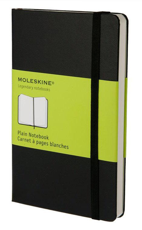 Блокнот Moleskine CLASSIC POCKET 90x140мм 192стр. нелинованный твердая обложка фиксирующая резинка ч