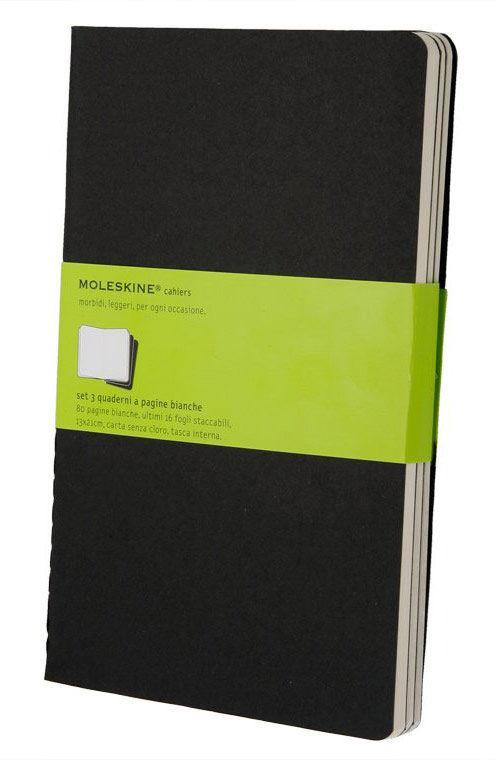 Блокнот Moleskine CAHIER JOURNAL XLarge 190х250мм обложка картон 120стр. нелинованный черный (3шт)