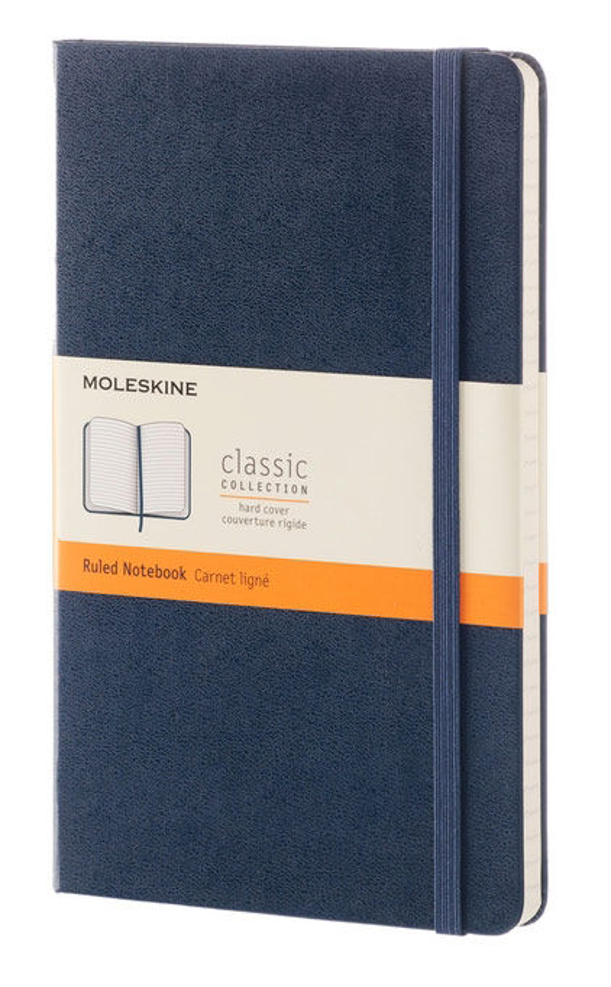 Блокнот Moleskine CLASSIC LARGE 130х210мм 240стр. линейка твердая обложка фиксирующая резинка синий [qp060b20]