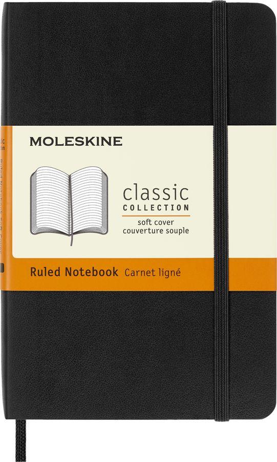 Блокнот Moleskine CLASSIC SOFT Pocket 90x140мм 192стр. линейка мягкая обложка черный [qp611]