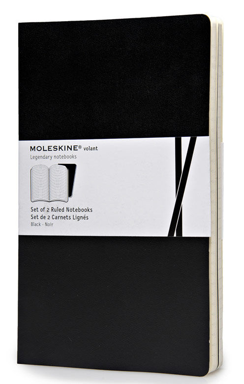 Блокнот Moleskine VOLANT LARGE 130х210мм 96стр. линейка мягкая обложка черный (2шт)