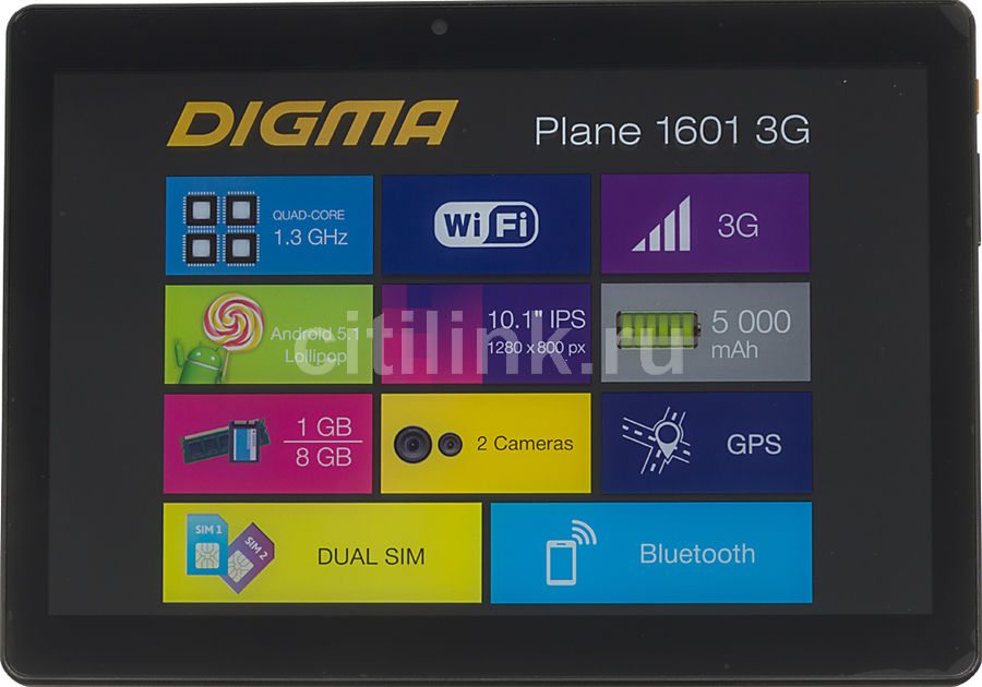 Планшет DIGMA Plane 1601 3G, 1GB, 8GB, 3G, Android 5.1 черный [ps1060mg] планшет digma plane 9507m 3g black ps9079mg mt8321 1 2 ghz 1024mb 8gb 3g wi fi bluetooth cam 9 6 1280x800 android 390148