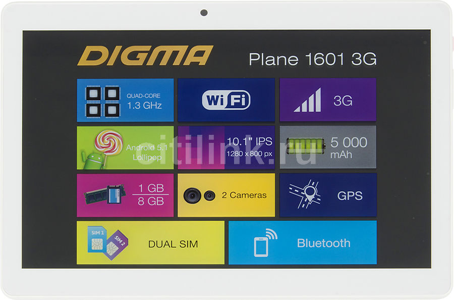 Планшет DIGMA Plane 1601 3G, 1GB, 8GB, 3G, Android 5.1 белый [ps1060mg] планшет digma plane 1505 3g black ps1083mg mediatek mt8321 1 3 ghz 1024mb 8gb gps 3g wi fi bluetooth cam 10 1 1280x800 android 394172