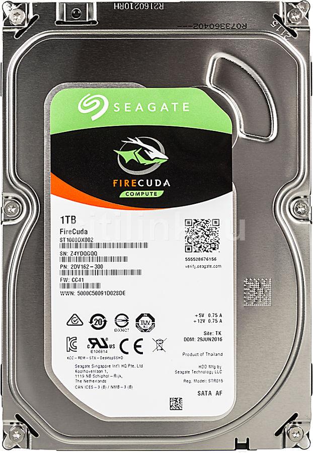 "Жесткий диск SEAGATE Firecuda ST1000DX002,  1Тб,  гибридный HDD/SSD,  SATA III,  3.5"""