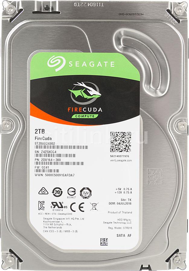 "Жесткий диск SEAGATE Firecuda ST2000DX002,  2Тб,  гибридный HDD/SSD,  SATA III,  3.5"""