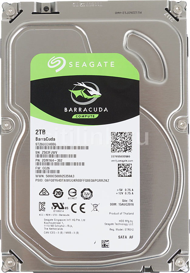 Жесткий диск SEAGATE Barracuda ST2000DM006, 2Тб, HDD, SATA III, 3.5 hdd диск