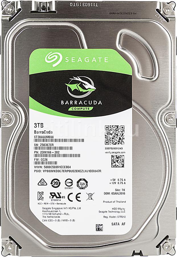 Жесткий диск SEAGATE Barracuda ST3000DM008,  3Тб,  HDD,  SATA III,  3.5