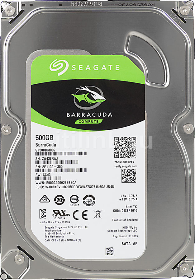 Жесткий диск SEAGATE Barracuda ST500DM009, 500Гб, HDD, SATA III, 3.5 seagate hdd sata 320gb в казахстане