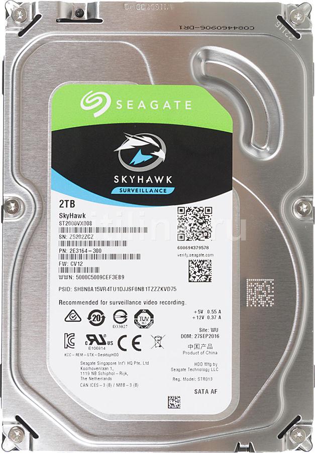 "Жесткий диск SEAGATE Skyhawk ST2000VX008,  2Тб,  HDD,  SATA III,  3.5"""