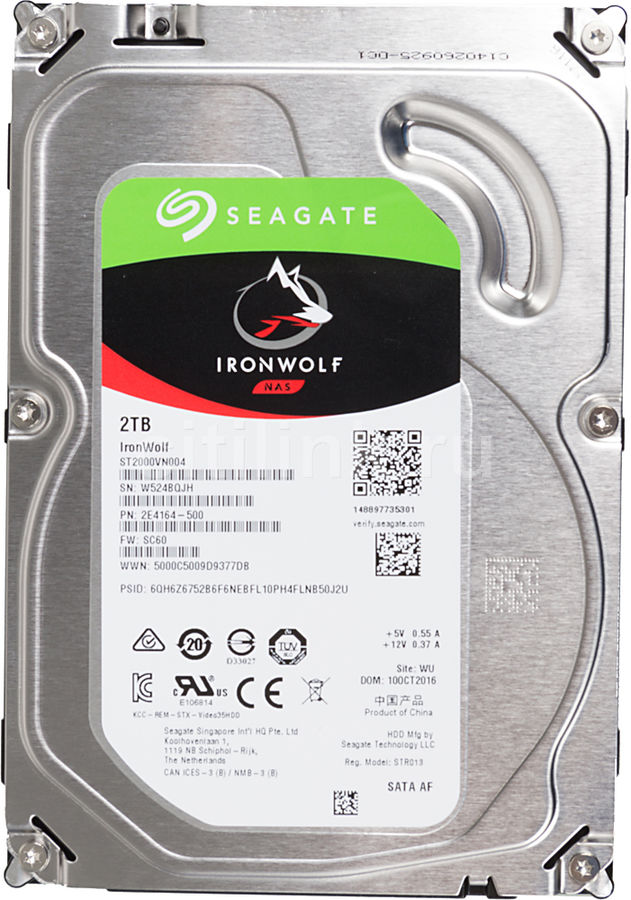 Жесткий диск SEAGATE Ironwolf ST2000VN004,  2Тб,  HDD,  SATA III,  3.5