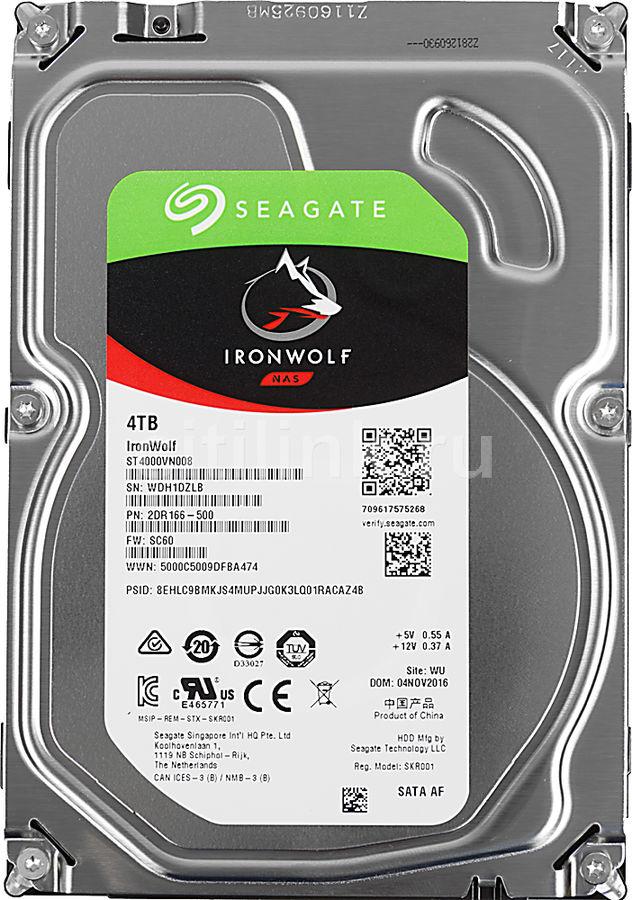 "Жесткий диск SEAGATE Ironwolf ST4000VN008,  4Тб,  HDD,  SATA III,  3.5"""