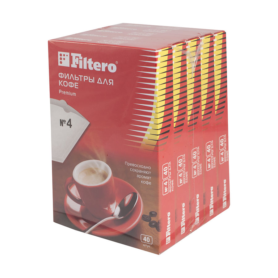 Фильтры для кофе FILTERO Premium №4,  для кофеварок,  бумажные,  1х4,  200 шт,  белый [5/200]