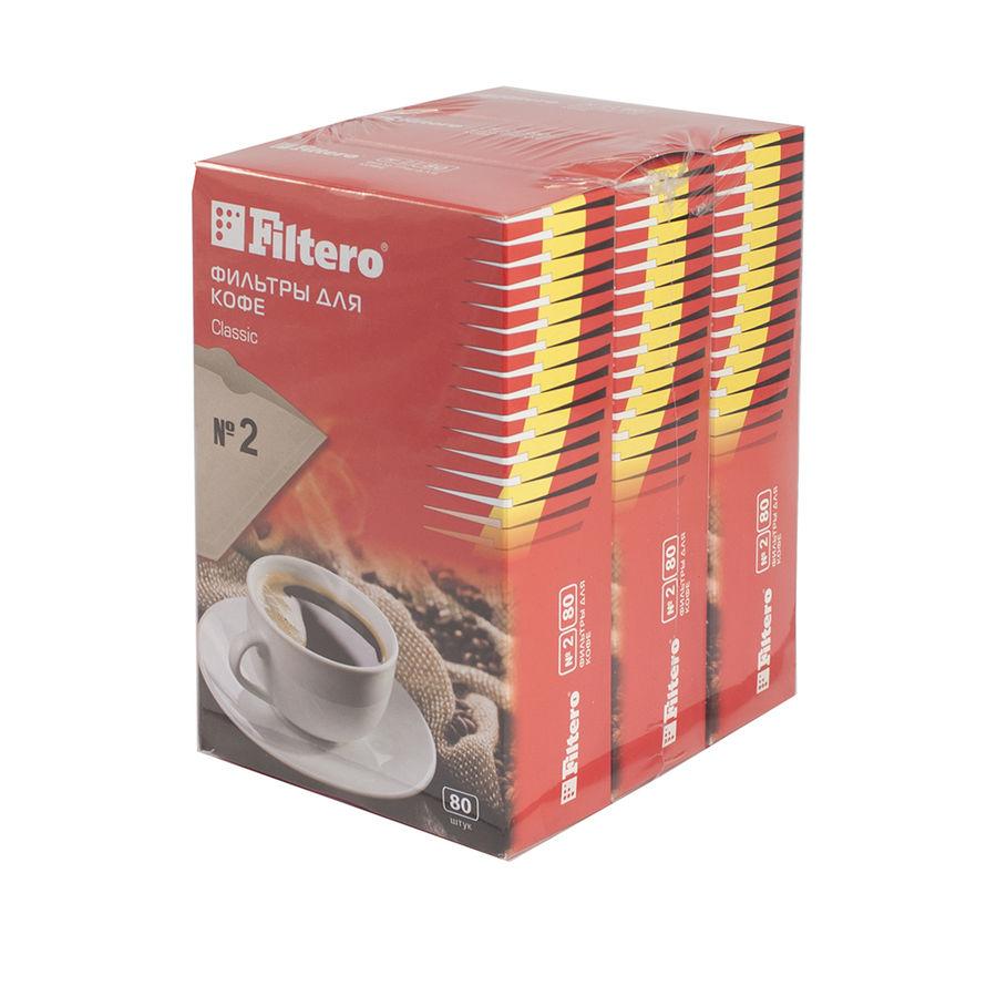 Фильтры для кофе FILTERO №2,  для кофеварок,  бумажные,  1x2,  240 шт,  коричневый [2/240]