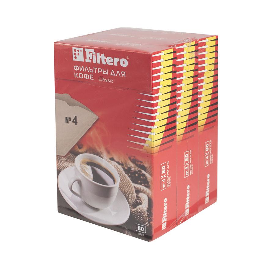Фильтры для кофе FILTERO №4,  для кофеварок,  бумажные,  240 шт,  коричневый [4/240]