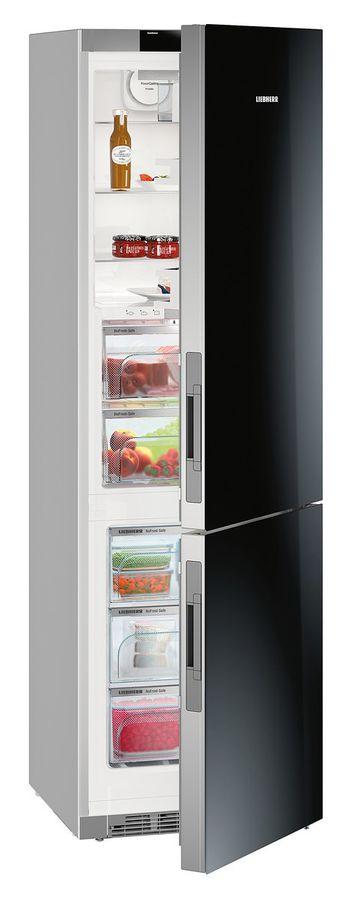 Холодильник LIEBHERR CBNPgb 4855,  двухкамерный, черное стекло