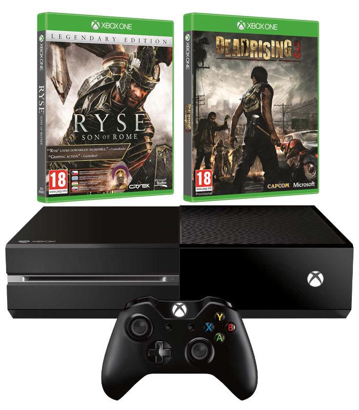 Игровая консоль MICROSOFT Xbox One с 500 ГБ памяти, играми Ryse Legendary, Deadrising 3 ApclypsEdtn,  5C5-00015-RD, черный
