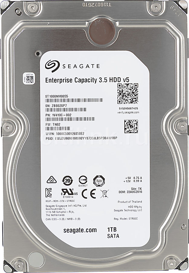 Жесткий диск SEAGATE Enterprise Capacity ST1000NM0055,  1Тб,  HDD,  SATA III,  3.5""