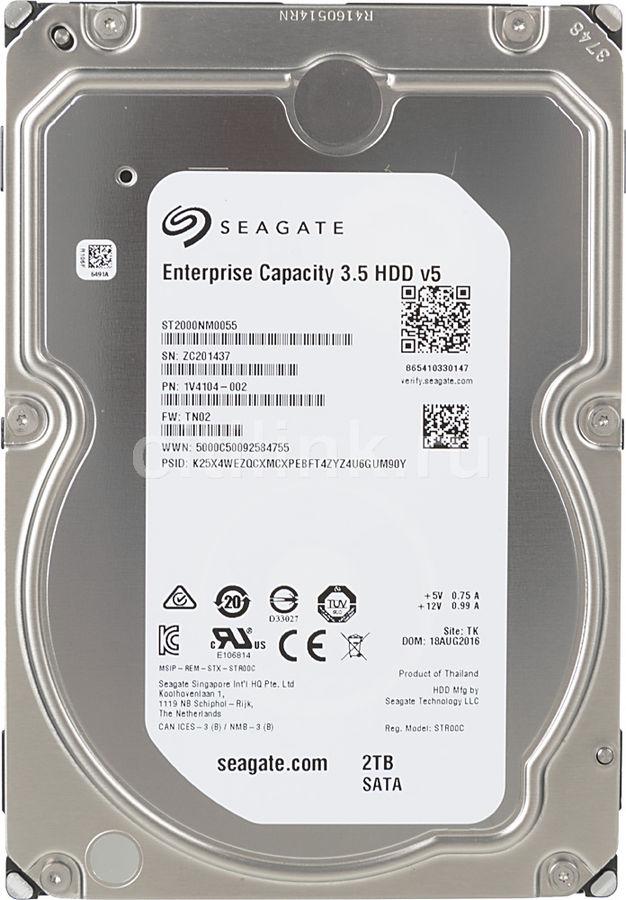 "Жесткий диск SEAGATE Enterprise Capacity ST2000NM0055,  2Тб,  HDD,  SATA III,  3.5"""