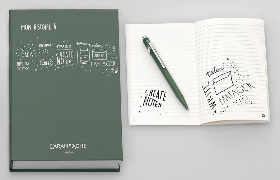 Ручка шариковая Carandache Office My History (CC0849.116) Olive Black M синие чернила подар.кор.