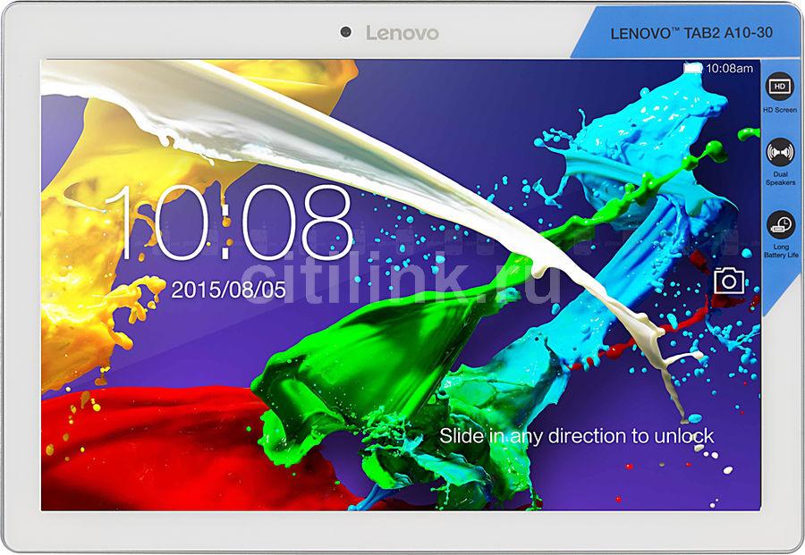 Планшет LENOVO Tab 2 A10-30 TB2-X30L,  2GB, 16GB, 3G,  4G,  Android 5.1 белый [za0d0108ru]