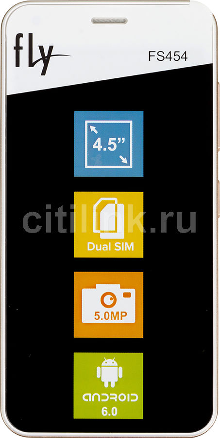 Смартфон FLY Nimbus 8 FS454 белый смартфон fly fs512 nimbus 10 4g lte 8gb black