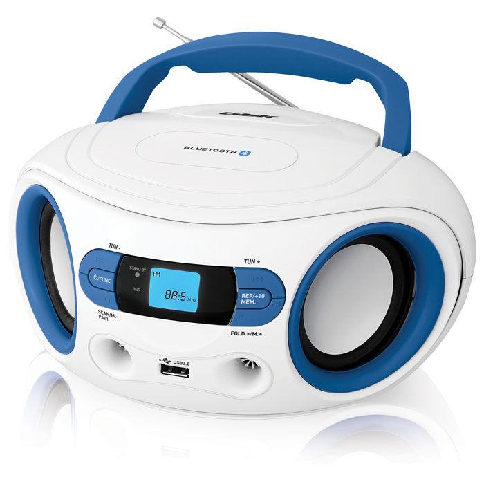 Аудиомагнитола BBK BS15BT,  белый и голубой