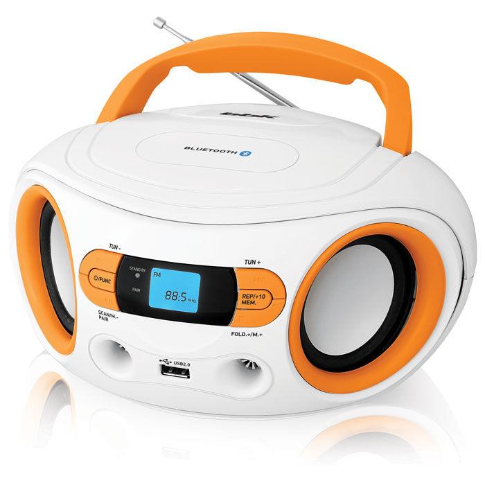 Аудиомагнитола BBK BS15BT,  белый и оранжевый