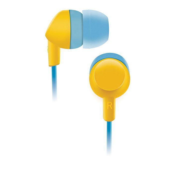 Наушники BBK EP-1420S, вкладыши,  голубой/желтый, проводные
