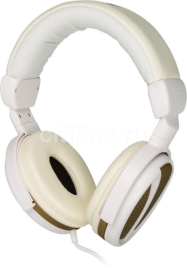 Наушники BBK EP-3300S, накладные,  белый/золотистый, проводные
