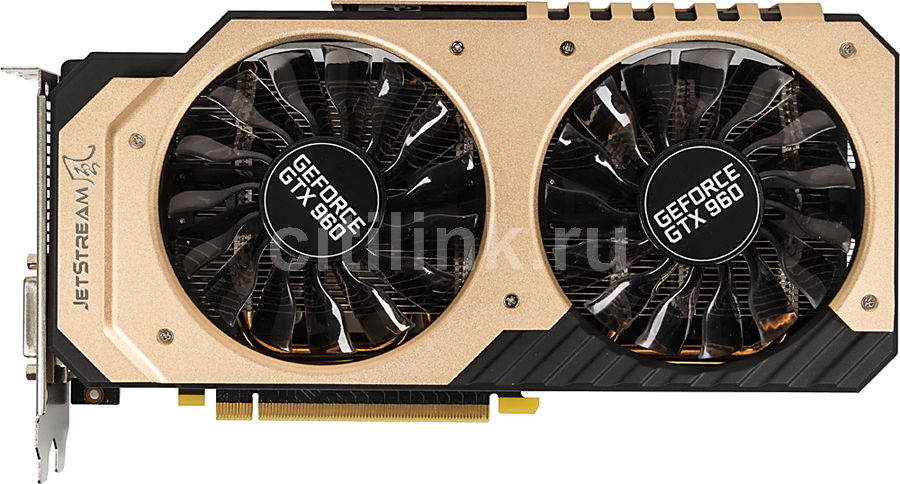 Видеокарта PALIT GeForce GTX 960,  PA-GTX960 JETSTREAM 2G Golden version,  2Гб, GDDR5, Ret [ne5x96001041-2061j]