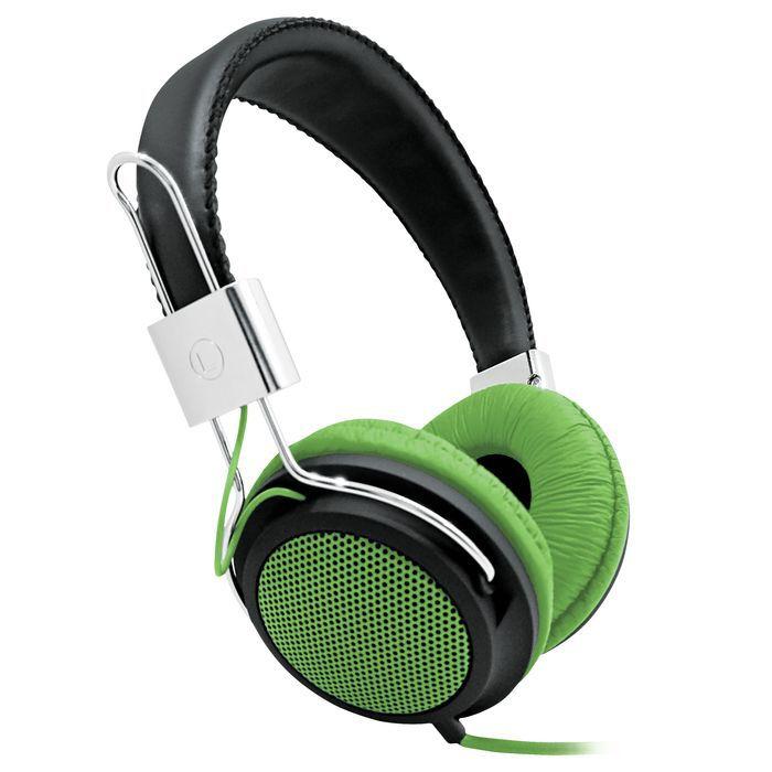 Наушники BBK EP-3500S, накладные,  черный/зеленый, проводные
