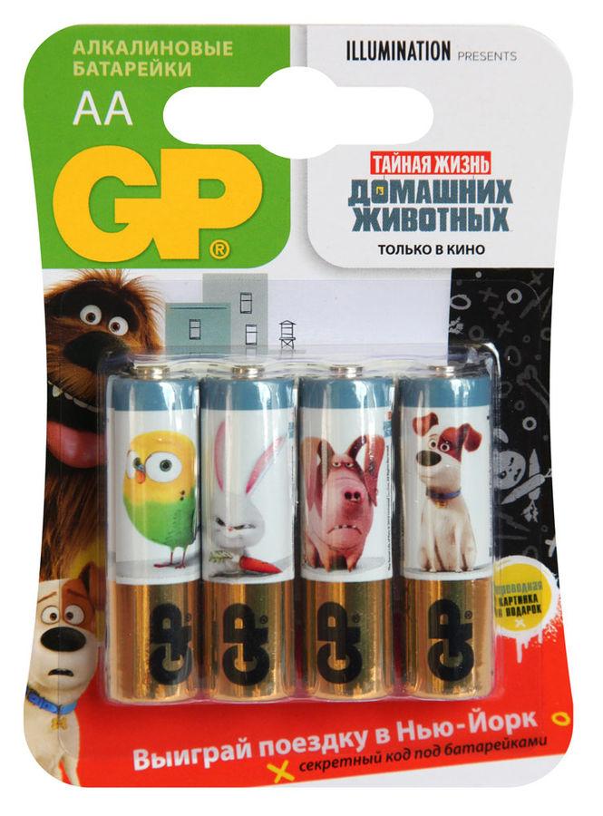 Батарея GP Super Alkaline 15A LR6 Pets,  4 шт. AA