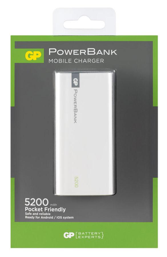 Внешний аккумулятор GP Portable PowerBank 1C05AWE,  5200мAч,  белый [gp1c05awe-2crfb1]