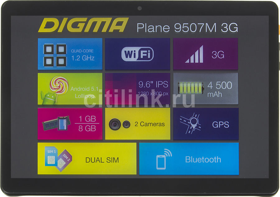 Планшет DIGMA Plane 9507M 3G, 1GB, 8GB, 3G, Android 5.1 черный [ps9079mg] планшет digma plane 9507m 3g black ps9079mg mt8321 1 2 ghz 1024mb 8gb 3g wi fi bluetooth cam 9 6 1280x800 android 390148