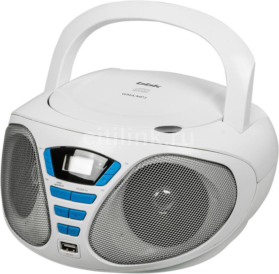 Аудиомагнитола BBK BX180U,  белый и голубой