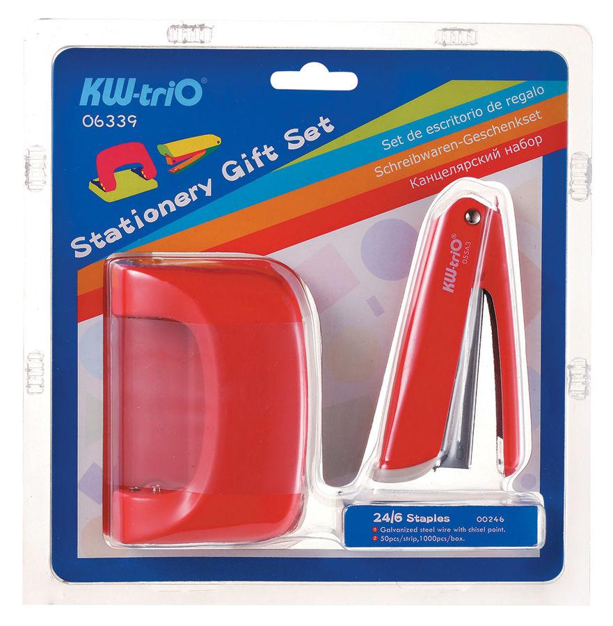 Настольный набор KW-TRIO 6339 Twist, офисный набор : степлер 24/6 20 листов, дырокол 20 листов, скобы 24/6. Металл, цвета ассорти: салатовый, голубой, коралловый, черный, металл, 3 предмета, ассорти [06339]